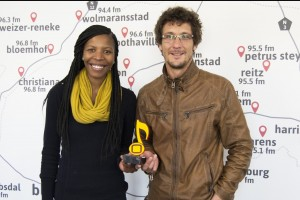 OFM presenters Success Lekabe and Cyril Viljoen with the OFM Music Award