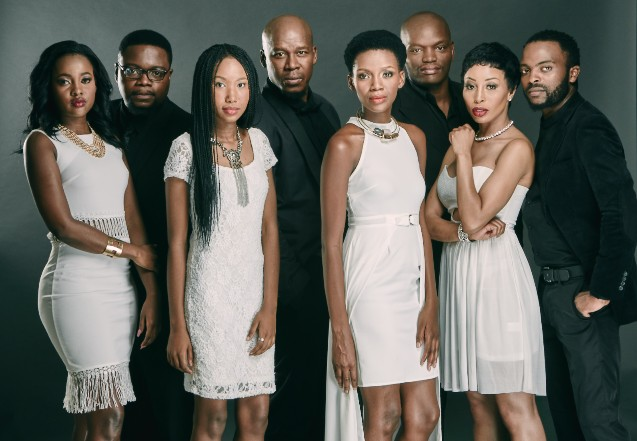 From left to right: Oumhle Gela as Andile, Mzwandile Ngubeni as Vuyo, Fezeka Ndlazilwana as Phindile, Hamilton Dhlamini as Mnqobi, Nokuthula Ledwaba as Dumile, Daniel Hadebe as Spikiri, Khanyi Mbau as Palesa and Phumello Nkosi as Mthandeni.