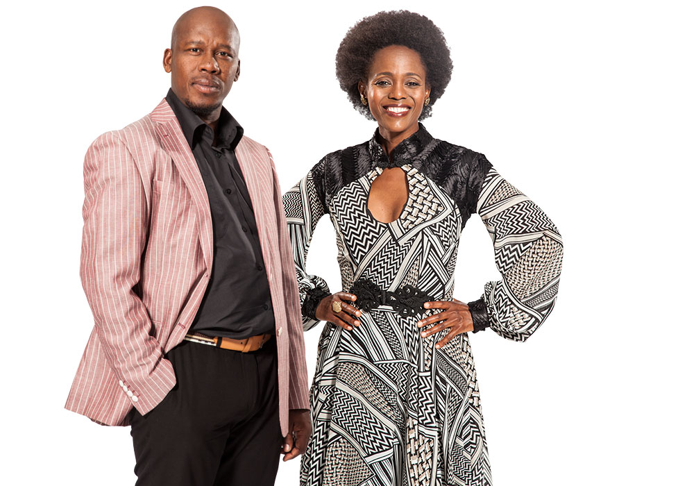 From left to right: Hamilton Dlamini as Mnqobi Simelane and Gcina Mkhize as Cebisile Simelane