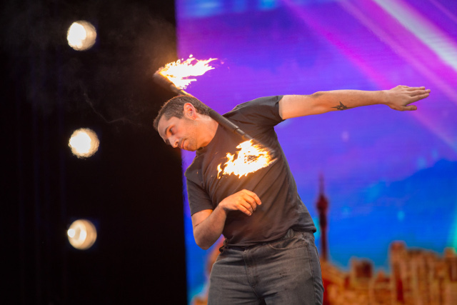 Steven Mullins had an inferno of a performance on the SA's Got Talent stage.